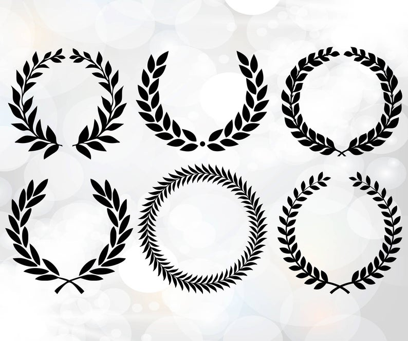 Laurel wreath SVG, Monogram Frames for Silhouette, Laurel Wreath SVG, Leaf  wreath svg, Olive branches SVG, Laurel wreaths clipart bundle.