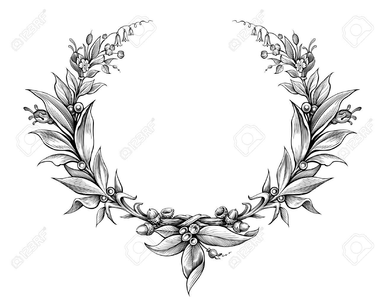laurel wreath vintage Baroque frame border monogram floral heraldic...