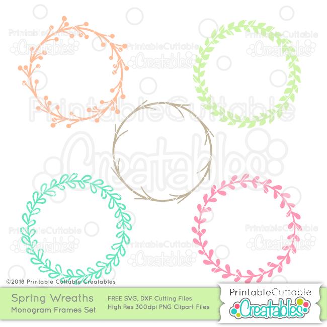 Spring Wreath Free Monogram Frame SVG Files for Silhouette.