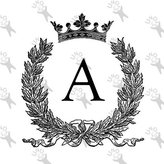 Vintage Monogram Initial Letter A Laurel wreath Crown.