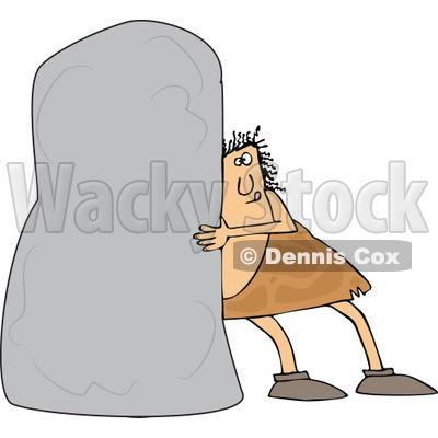 of a Chubby Caveman Pushing a Monolith.