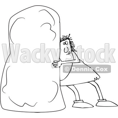 Clipart of a Black and White Chubby Caveman Pushing a Monolith.