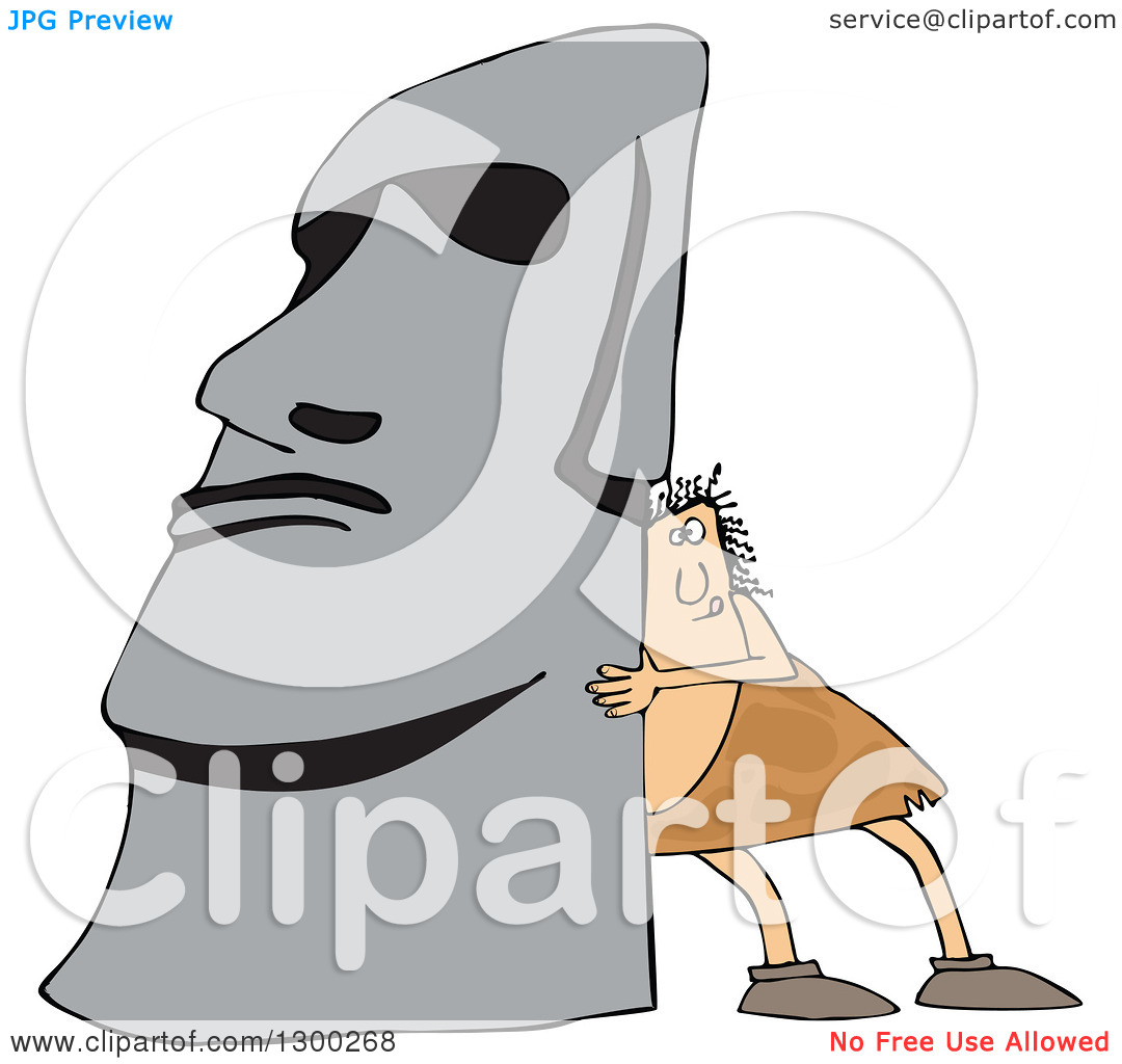Clipart of a Chubby Caveman Pushing up a Monolith.