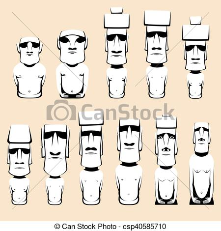 Vector Clip Art of Set of Moai monolithic human figures carved by.