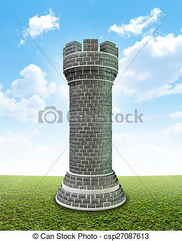 Clipart of Brick Castle On Grass.