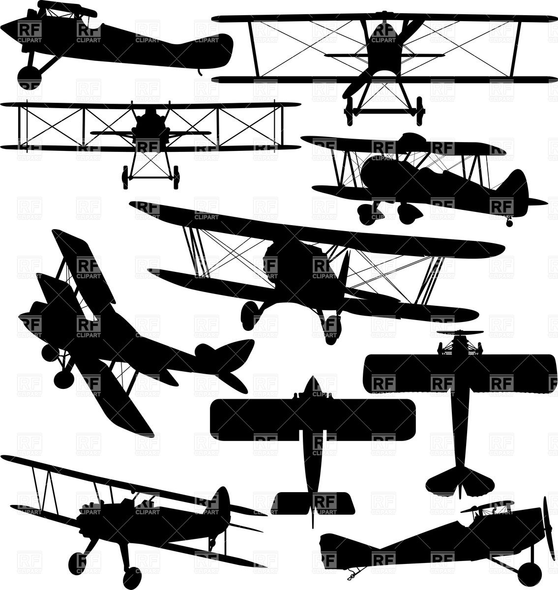 Silhouettes of old aeroplane.