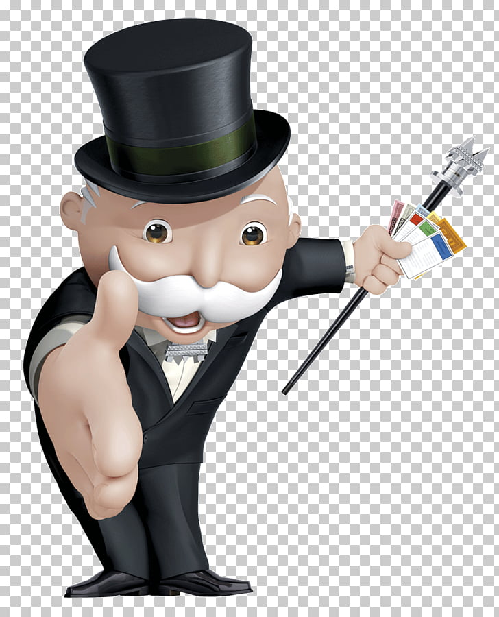 Mr Monopoly, magician holding cards illustration PNG clipart.