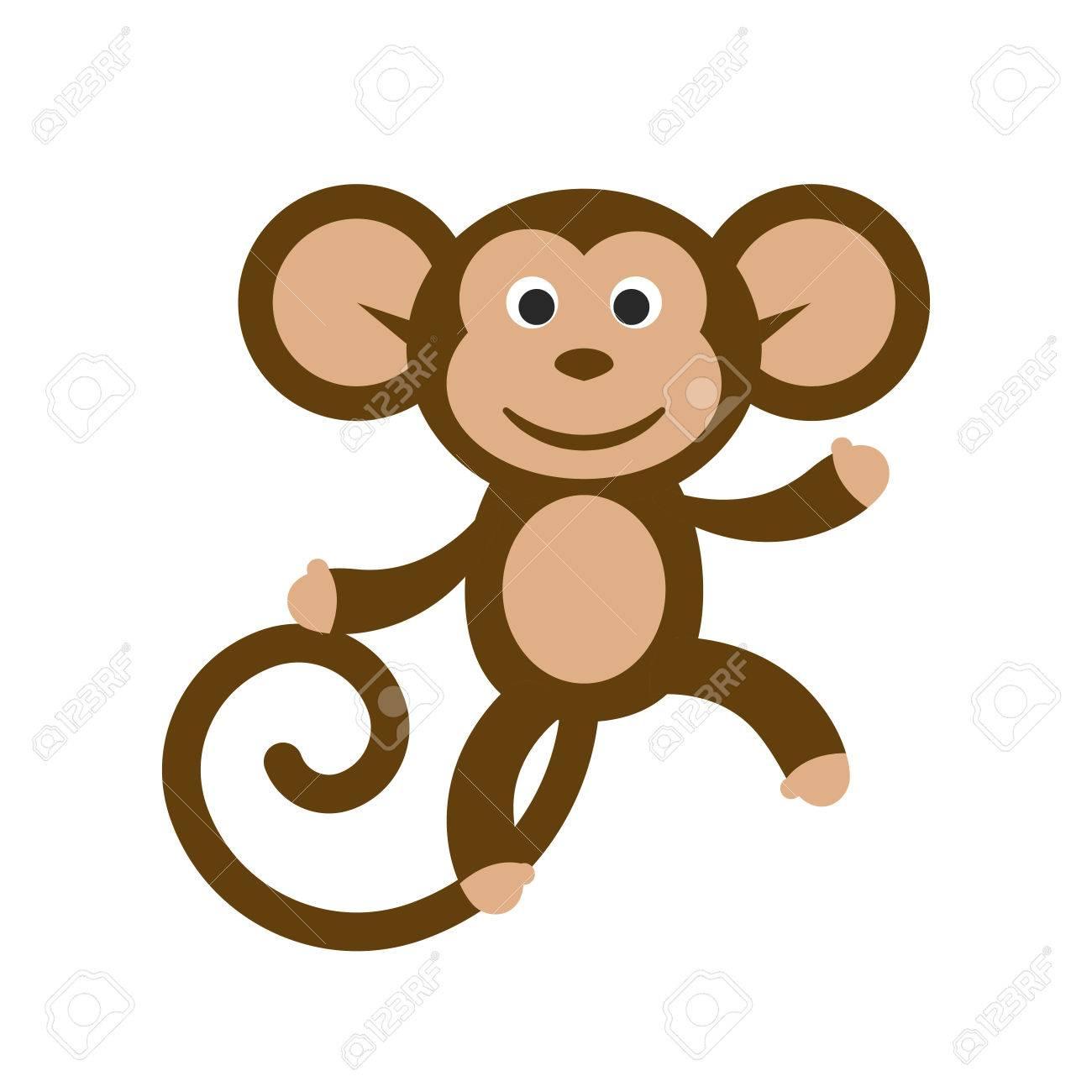Ilustración vectorial de dibujos animados mono feliz. Diversión clipart  baile del mono..