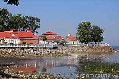 Monplaisir Palace On The Gulf Of Finland. Peterhof, Russia Stock.