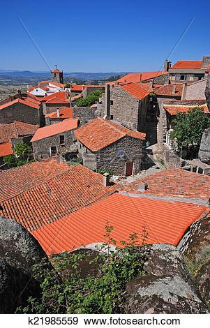 Stock Photograph of medieval european village Monsanto, Portugal.