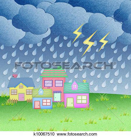 Clip Art of rain in the village k14454602.
