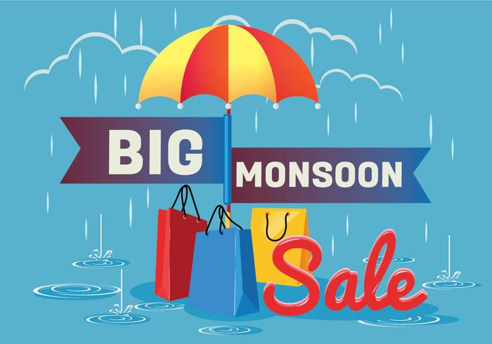 Sale Poster for Monsoon Season with Rain Drops with Shopping.