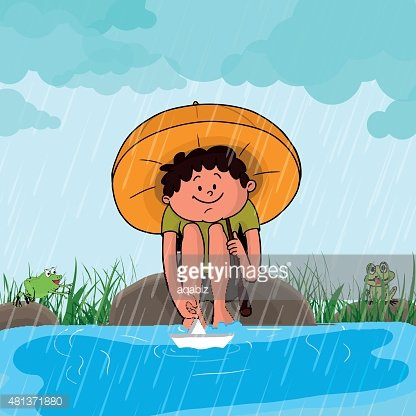 Cute Boy IN Rains for Monsoon Season premium clipart.