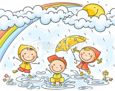 Three little kids are playing in the rain, no gradients.