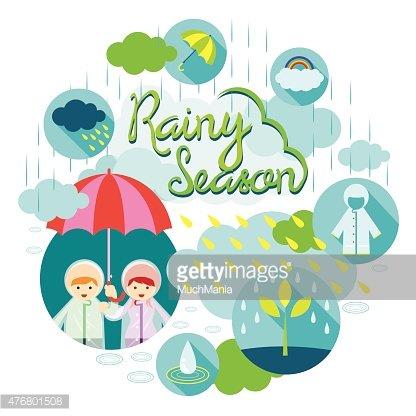 Boy and Girl Rainy Season Heading Clipart Image.