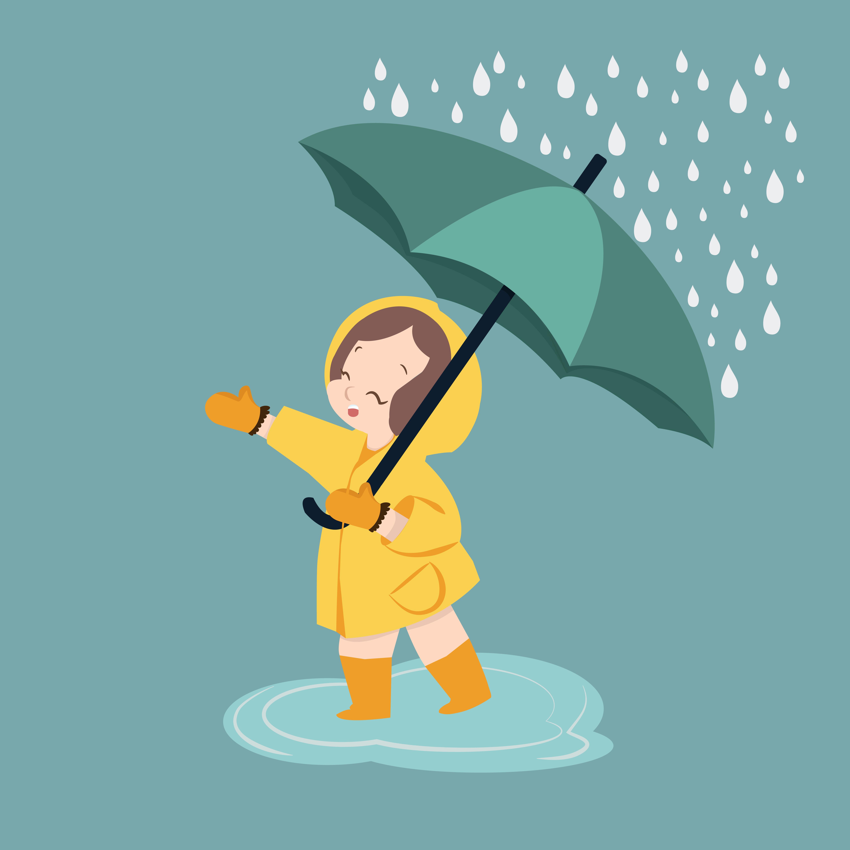 cute girl umbrella in rainy season.