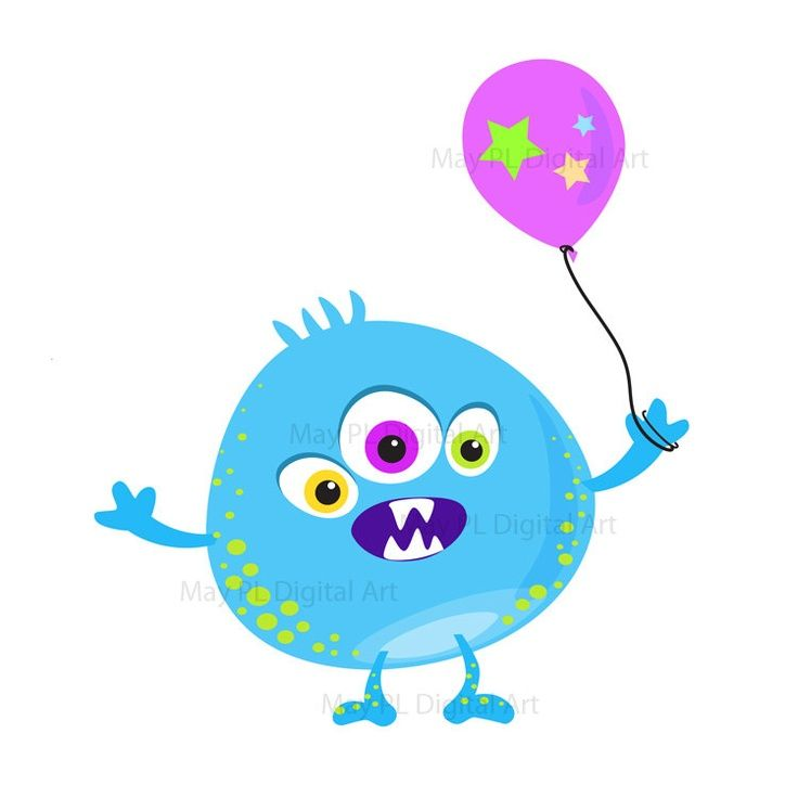 Monster Clipart Clip Art Kids Birthday Party Digital Little.