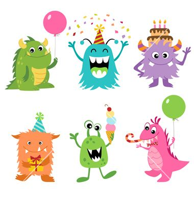 Birthday monsters vector by fireflamenco on VectorStock.