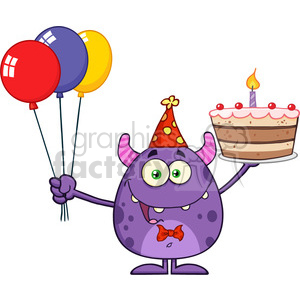 8913 Royalty Free RF Clipart Illustration Funny Monster Holding Up A  Birthday Cake Vector Illustration Isolated On White clipart. Royalty.