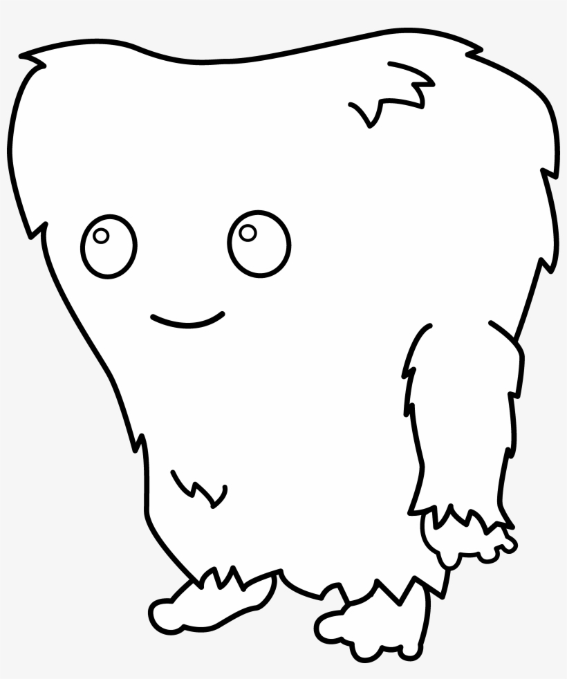 Cute Monster Clipart Black And White Fuzzy.