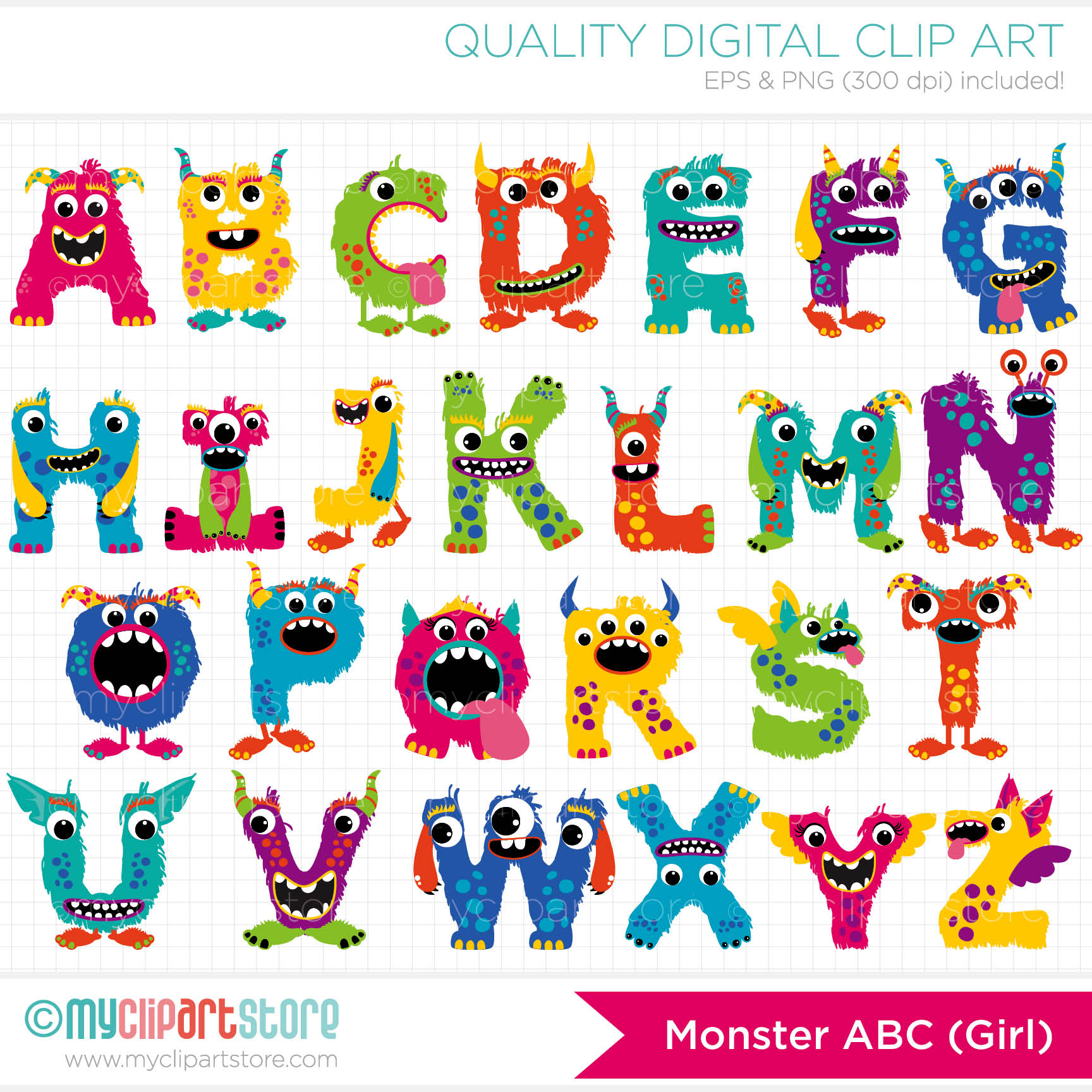 Monster Alphabet Border Clipart.