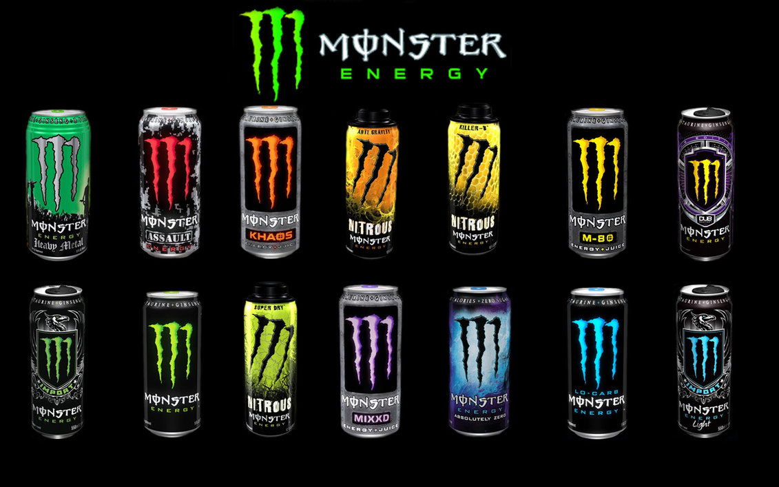 Flavors of Monster Energy.