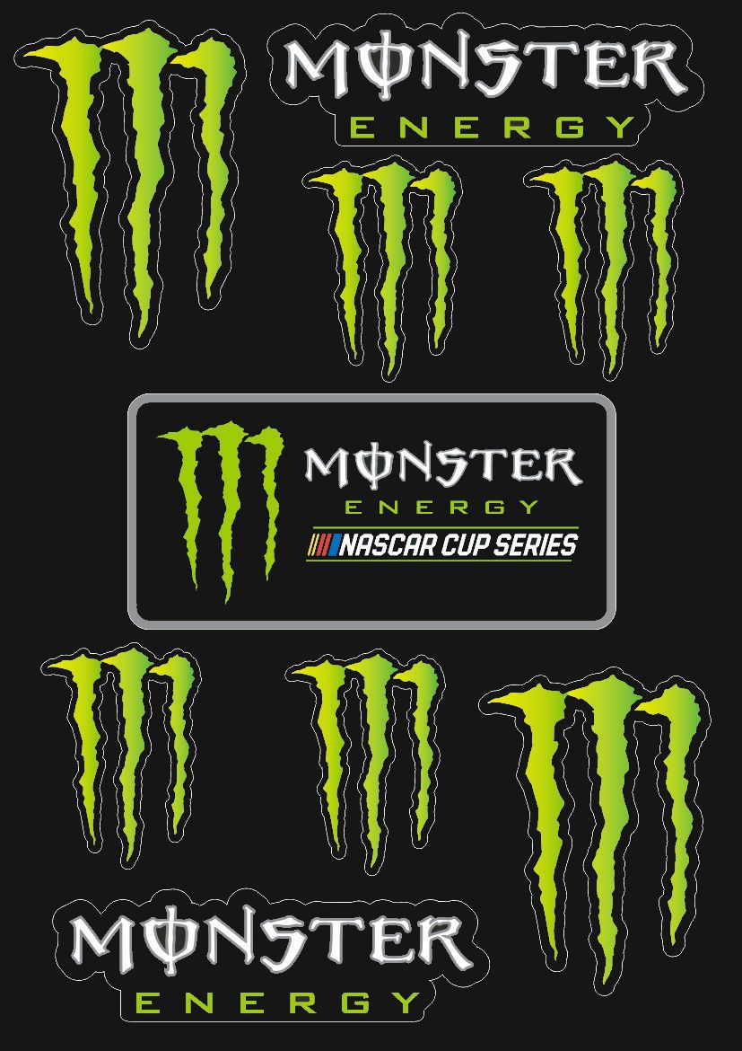 Monster Energy Drinks Logo Sheet Of 9 Stickers Decals Set.