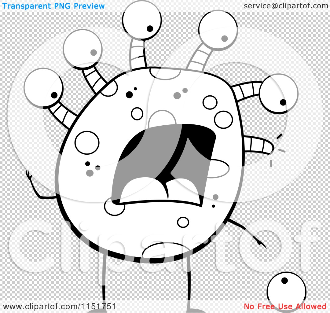Cartoon Clipart Of A Black And White Eyeball Monster Dropping an.