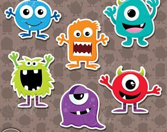 MONSTER EYES and MOUTHS Clip Art / Monster Faces Clipart.