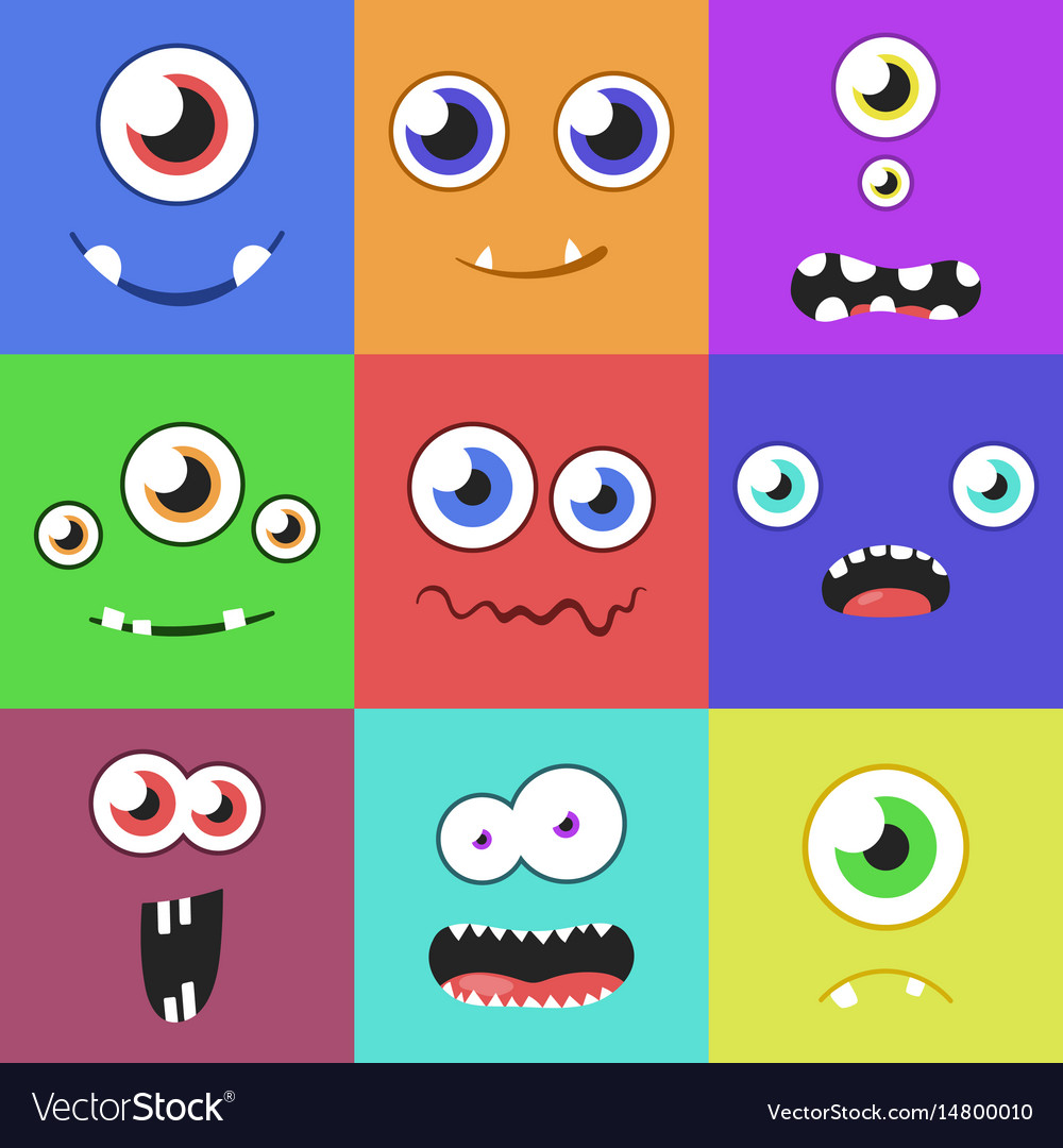 Set of cartoon monster faces with different.