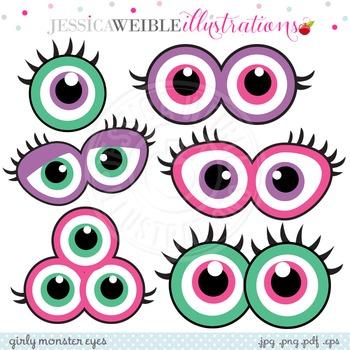 Girly Monster Eyes Cute Digital Clipart, Monster Face Graphics.