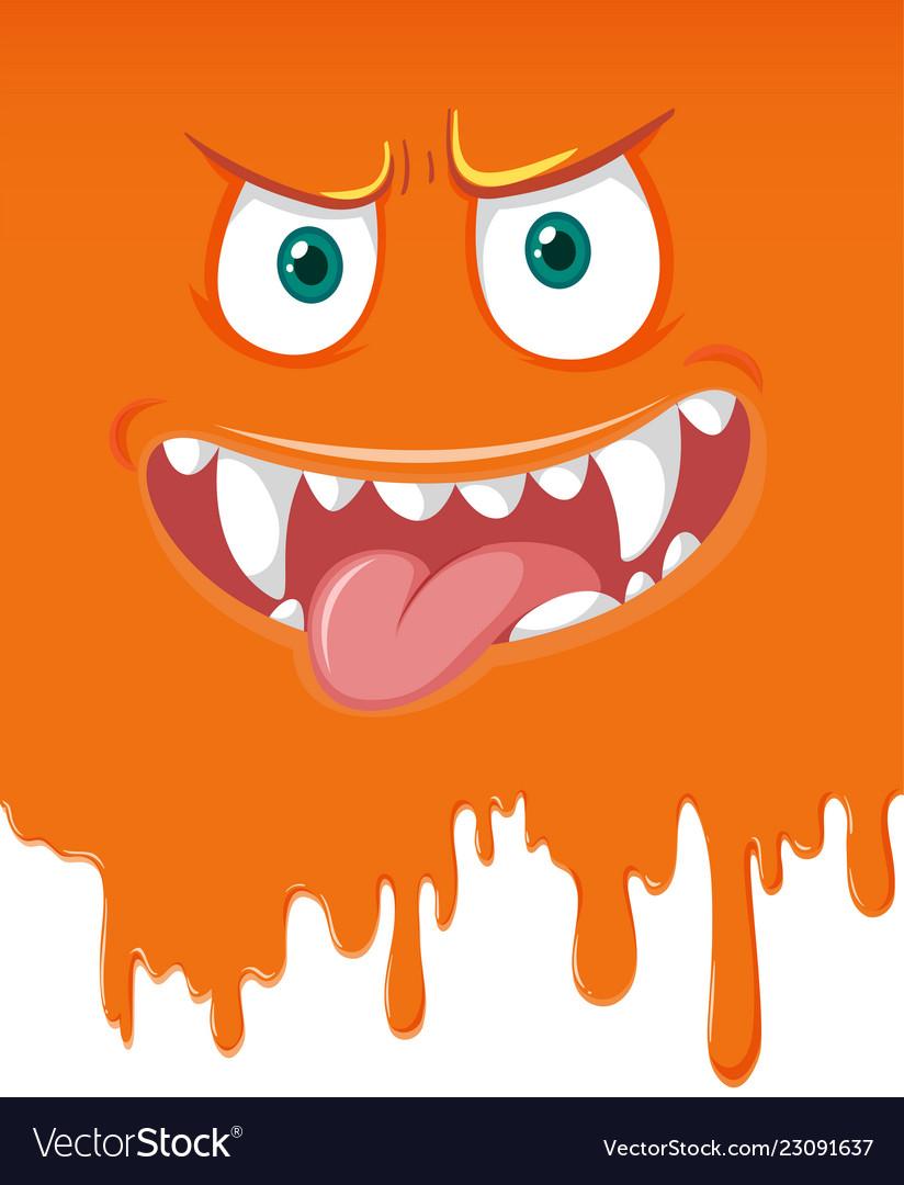Orange monster face dripping.