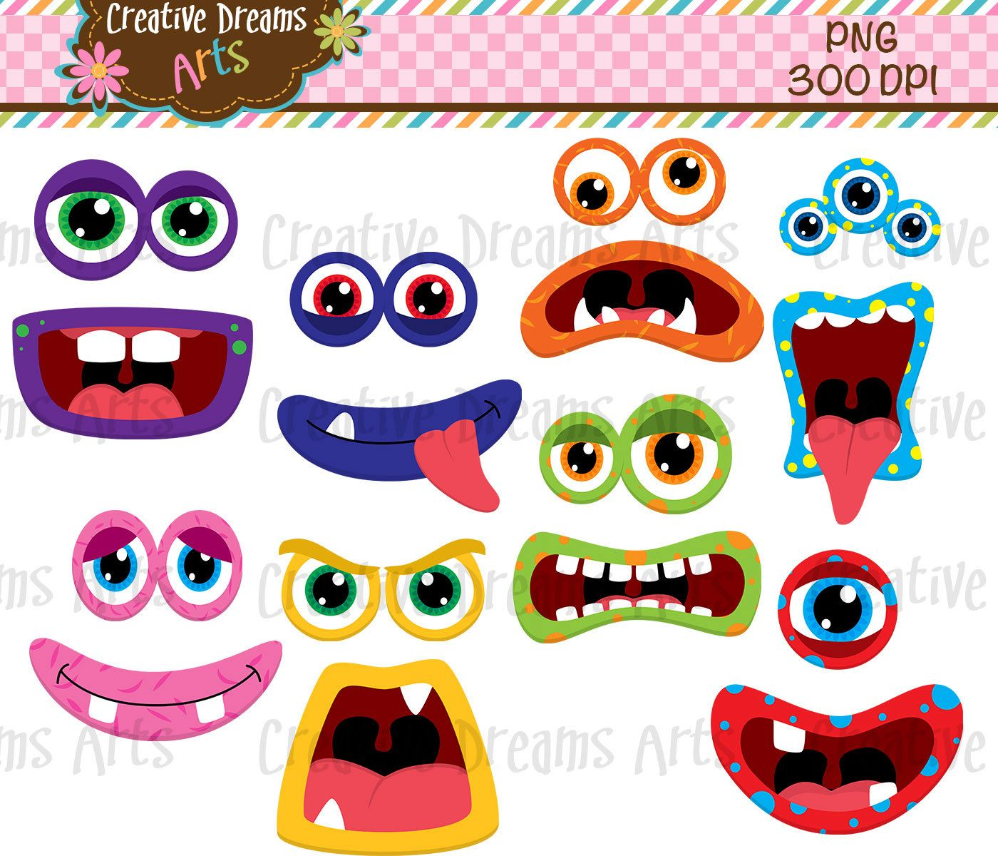 40% Off Monster faces Clip Art Instant by CreativeDreamsArts.