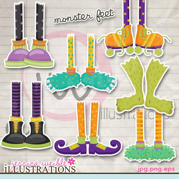 i love these :) Monster Feet Cute Digital Clipart for Card.