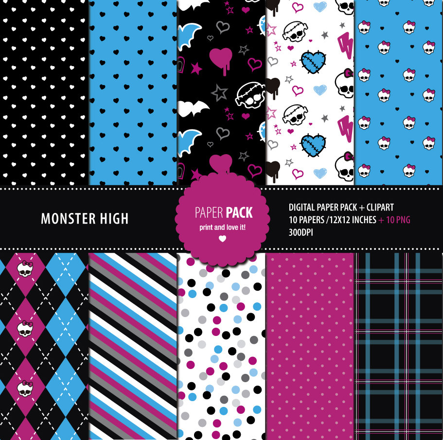 Digital Paper Pack and Clip Art Monster High Printable. 12x12.