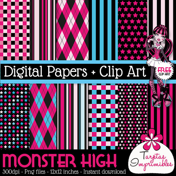 Papeles digitales para imprimir Monster High + Clip Art Dracularia.