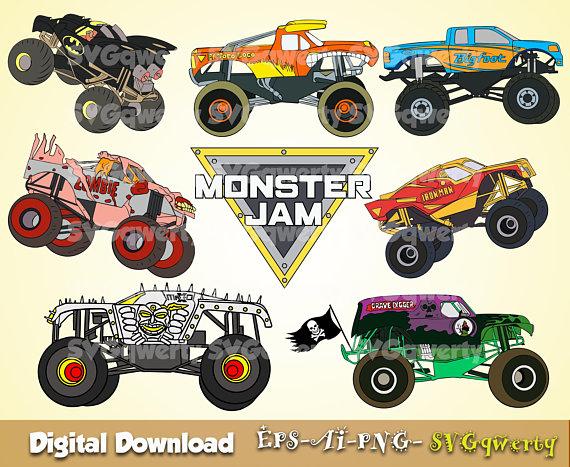 Monster Jam svg, Monster Truck svg, Grave Digger svg, El.