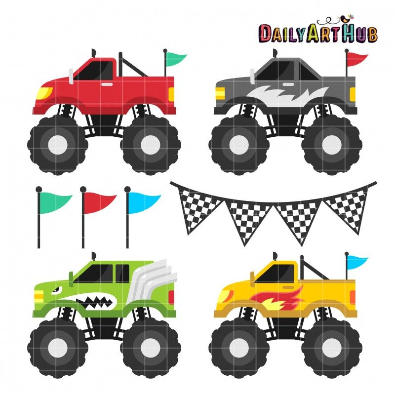 Monster Trucks Clip Art Set.
