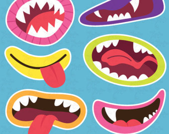 Cute Monsters Mouths Clip art Set, Monster Grin, Photo Booth.