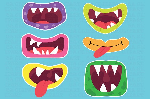 Cute Monster Mouths Clipart ~ Illustrations on Creative Market.
