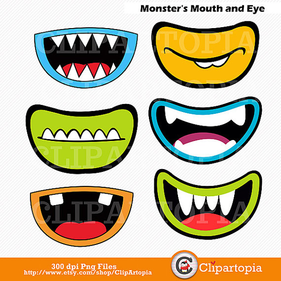 Monsters Mouth and Eyes Digital Clipart / Little Monster Party.