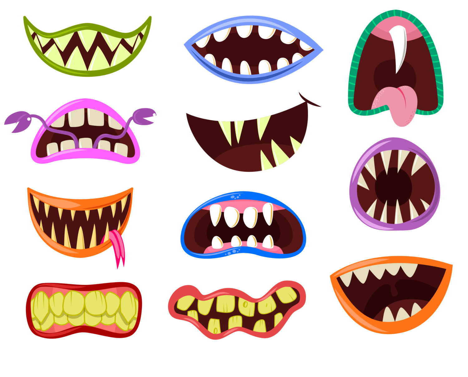 Scary cartoon monster teeth