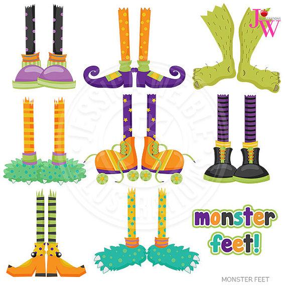 Monster Feet Cute Digital Clipart Halloween Clip Art.