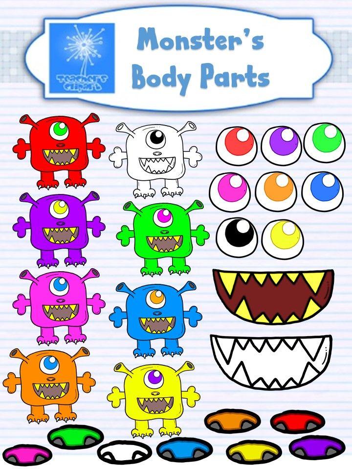 Monster's Body Parts Clip Art.