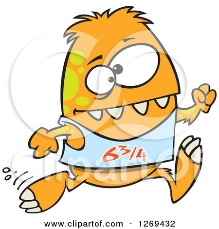 Clipart of a Cartoon Green and Orange Spotted Monster Talking on a.