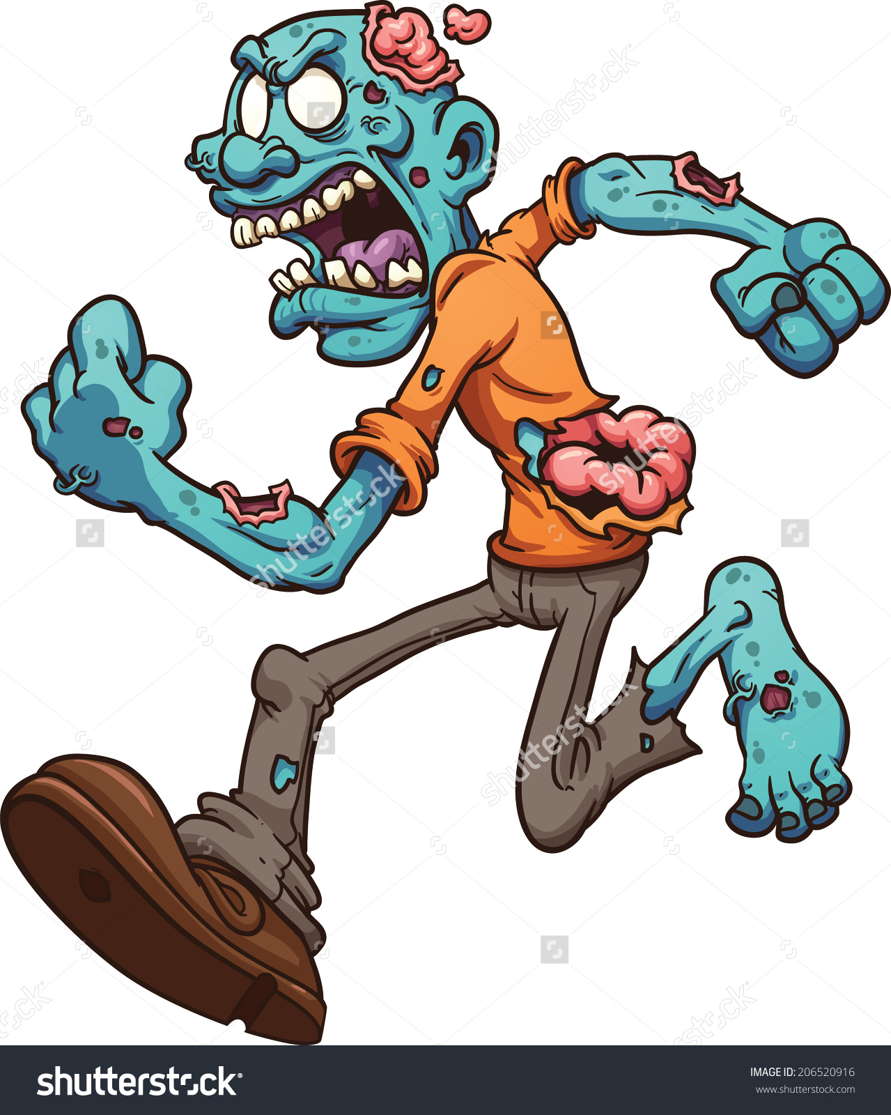 Angry Running Zombie Vector Clip Art Stock Vector 206520916.