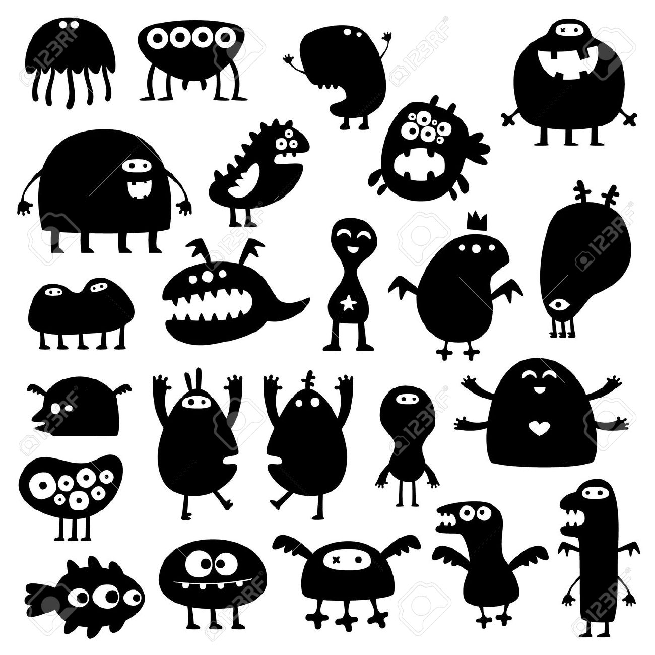 Collection Of Cartoon Funny Monsters Silhouettes Royalty Free.