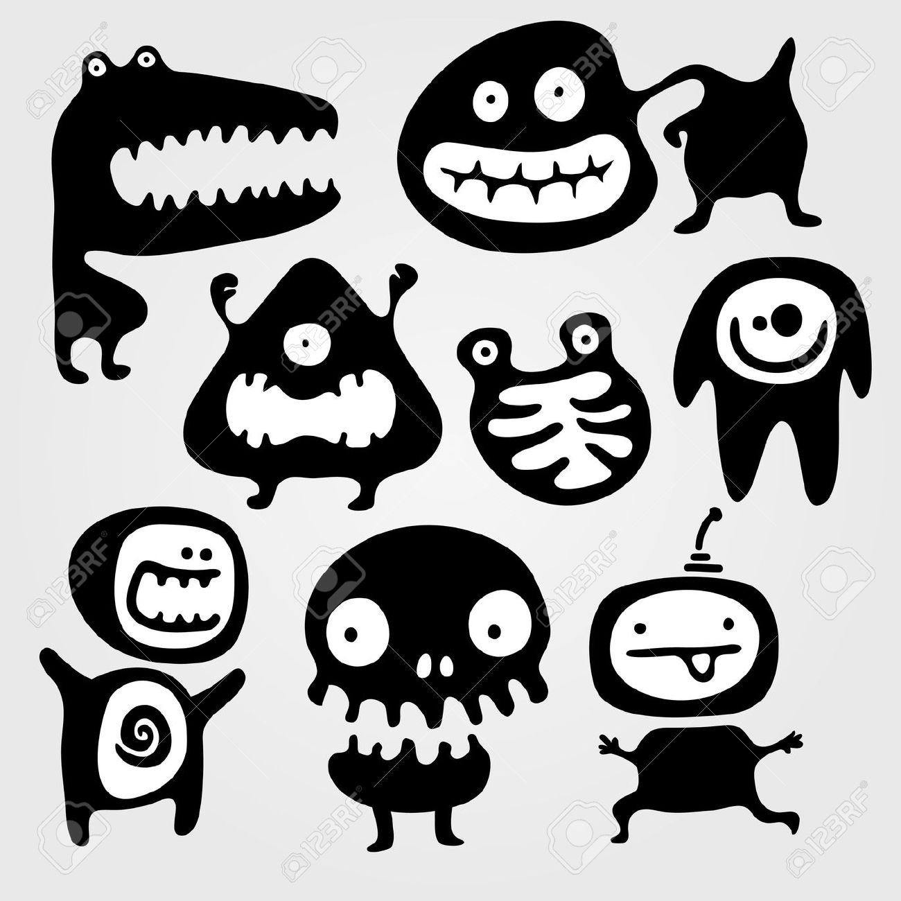 Set Of Few Monsters Silhouettes With Different Emotions Royalty.