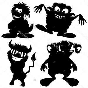 Excellent Monster Silhouette Free Clipart Picture.