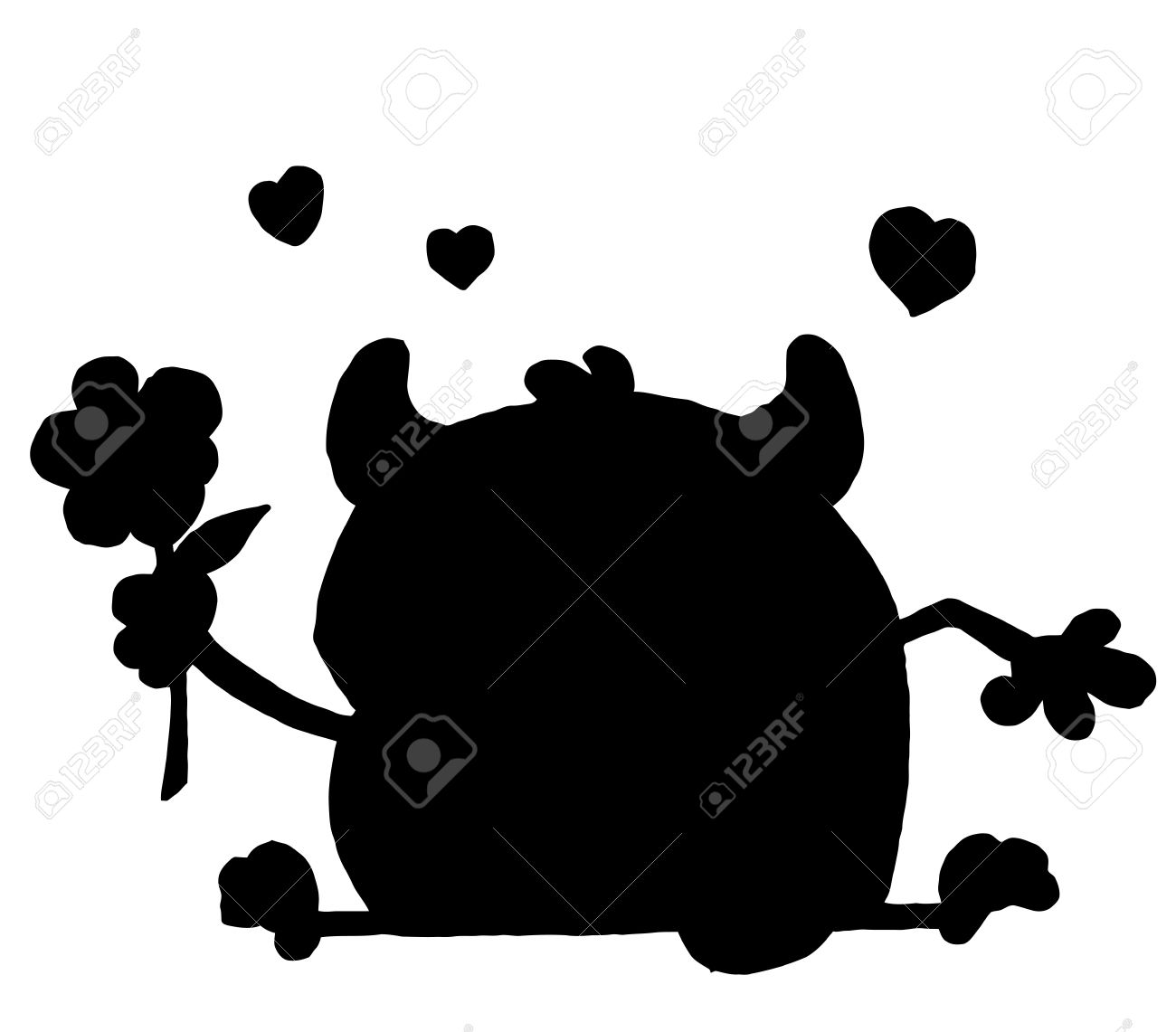Solid Black Silhouette Of A Monster And Flower Royalty Free.
